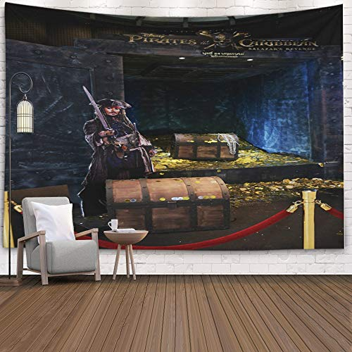 Musesh Huge Tapestry,Tapestry Wall Hanging,Rap Tapestry Wall Hanging Thailand June Beautiful of Movie Pirates The Dead Men No Theater 2017 Standee Caribbean 5: 80X60 Inches Size,Red Green