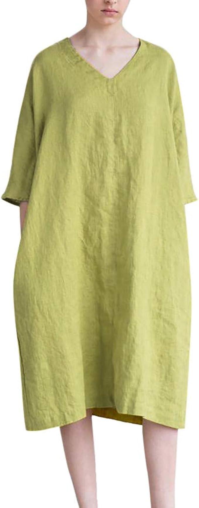 Vestido de Verano para Mujer, de algodón y Lino, Largo y Sexy ...