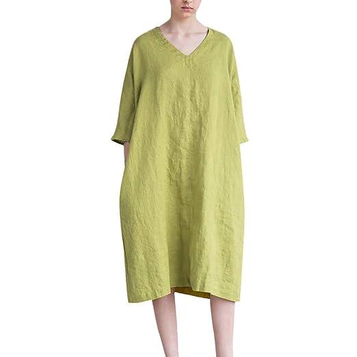 b5de56d8fc50c Women Cotton Linen Midi Dress, Ladies Summer V-Neck Half Sleeve ...