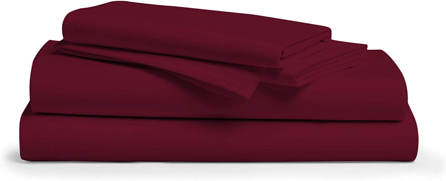 Comfy Sheets 100% Egyptian Cotton Sheets- 1000 Thread Count 4 Pc Queen Sheets Cotton Burgundy Bed Sheet with Pillowcases, Hotel Quality Fits Mattress Up to 18'' Deep Pocket.
