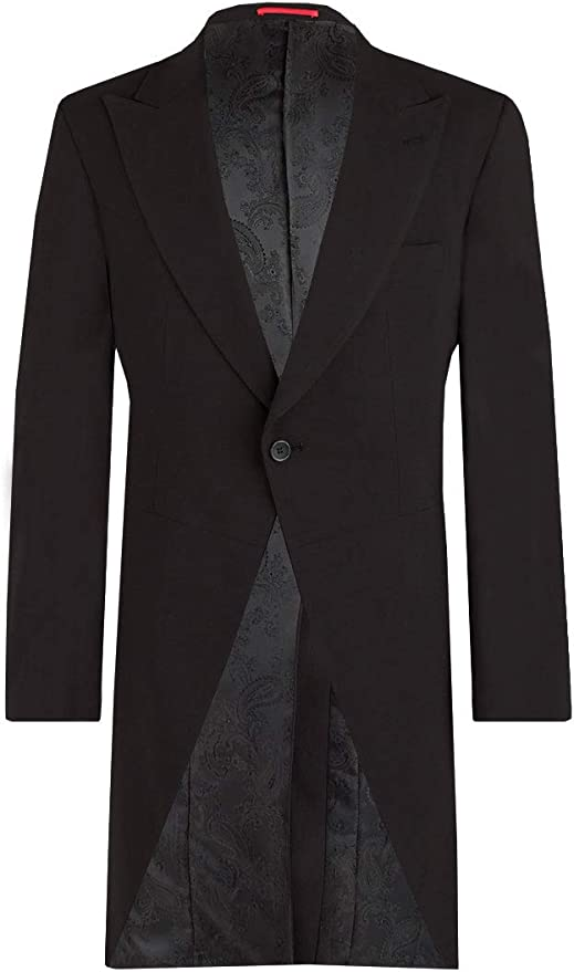 Edwardian Men's Formal Wear Dobell Mens Black Morning Suit Tailcoat Regular Fit Peak Lapel Classic Wedding Jacket £129.99 AT vintagedancer.com