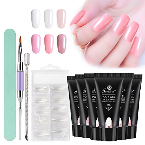 Poly Gel Nail Kit, Saviland 6 Colors Poly Gel Finger Extension Gel Quick Building Poly UV Builder Nail Gel 30 ml with Nail Brush Nail Forms Nail Art Kit by Saviland
