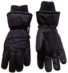 N\'Ice Caps Kids Bulky Thinsulate and Waterproof Ski Glove With Ridges (5-6yrs, Black)