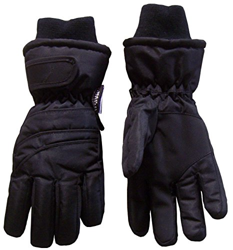N'Ice Caps Kids Bulky Thinsulate Waterproof Winter Snow Ski Glove With Ridges (8-10yrs, Black)