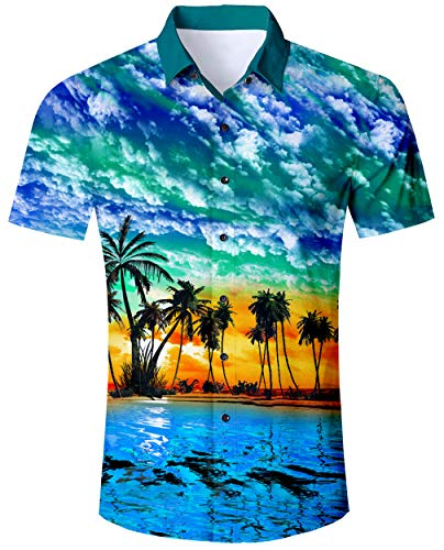 RAISEVERN Men's Button Down Shirts Slim-fit Short Sleeve Dress Shirt Casual Hawaiian Summer Aloha Beach Shirts for Holiday