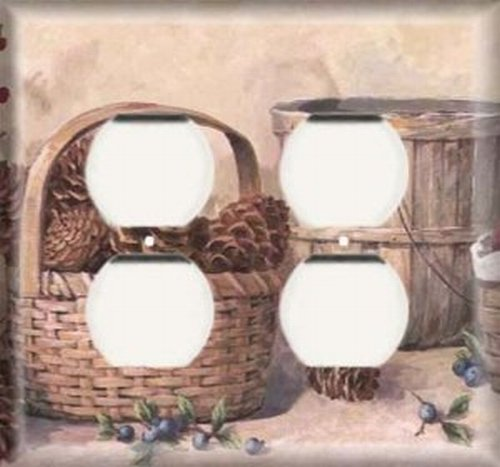 Pinecone Double Outlet - Pine Cone Baskets - Double Duplex Outlet Light Switch Plate Cover