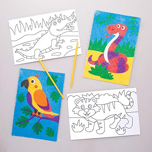 Baker Ross Jungle Animal Sand Art Pictures (Pack of 8) for Kids to Decorate and Display