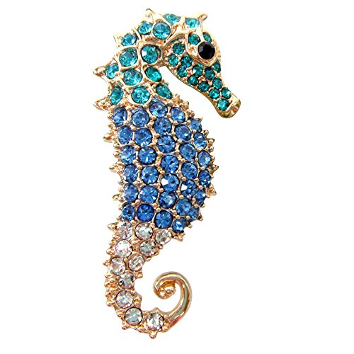 Navachi 18k Gold Plated Blue Crystal Hippocampus Az7272b Brooch - Brooch Emerald 18k