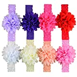 XUKE Mixed Colors 8PCS Hair Accessories Baby Girl's Gift Chiffon Flower Stretch Lace Hair Headband