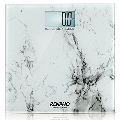 RENPHO by iDOO Regular Size Digital Bathroom Scale [ White Marble Pattern ]