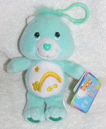 "2002 Care Bears 5"" Plush Wish Bear Clip On Doll"