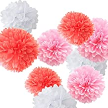 Fonder Mols 9 Tissue Paper Pom Poms Flowers Pack, Super-Fun Pink and White Party Supplies, Pink Coral & White, For Home, Bachelorette, Baby Shower, Wedding Decorations