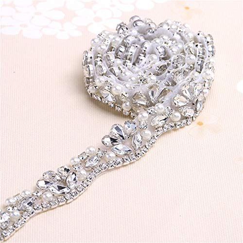 Crystal Sashes for Wedding, Fashion Handmade Wedding Bridal Belt, Braided Rhinestone Appliques Sash,Bridal or Bridesmaid Belt sash Bridal Garters-Sliver-1Yard(36