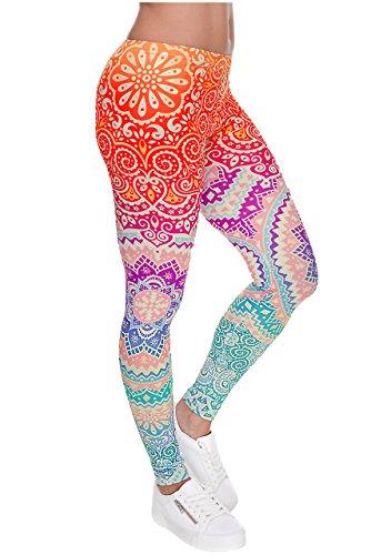 Ayliss Women Leggings Digital Print Yoga Skinny Pants High Waist Gym Elastic Tights,Orange Mandala,L-XL