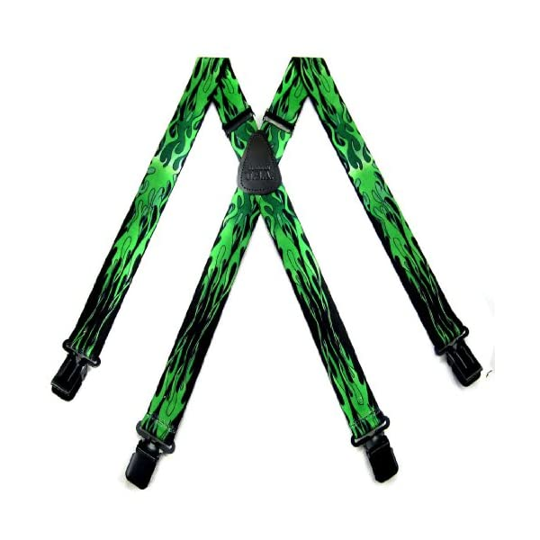 Black - Green Biker Suspenders By The-Perfect-Necktie