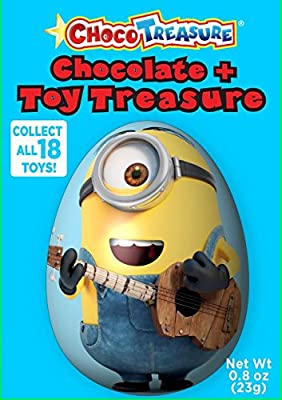 Minions Choco Treasure Chocolate Eggs with Toy Surprise!, Box 12 Count, 0.8oz from Choco Treasure