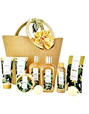 Spa Luxetique Vanilla Spa Gift Baskets for Women, Premium 10pc Spa Gift Sets for Mom - Deluxe Spa Tote Bag with Wooden Handle, Bath Salt, Hand Soap Cream, Shower Gel, Perfect Christmas, Birthday Gift Idea.