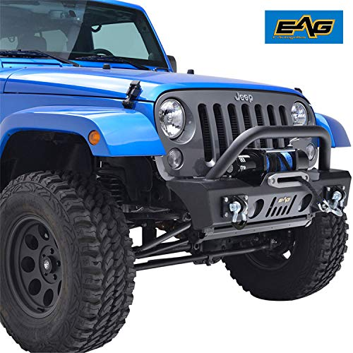 - E-Autogrilles 51-0357 EAG Stubby Front Bumper with OE Fog Light Housing for 07-18 Jeep Wrangler JK