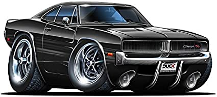 6 1969 1970 Dodge Charger R T Hemi Black Muscle Car Cartoon Kids