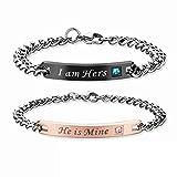 Minzhi Romantic Stainless Steel Couple Lover Bracelets Lettering Gem Bracelet For Men Women Gift
