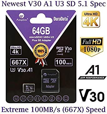 64GB Micro SD Card Plus Adapter Pack, Amplim 64 GB MicroSD SDXC Class 10 Pro U3 A1 V30 Extreme Speed 100MB/s UHS-I UHS-1 TF XC MicroSDXC Memory Card ...
