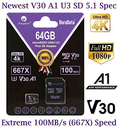 - 64GB Micro SD Card Plus Adapter Pack, Amplim 64 GB MicroSD SDXC Class 10 U3 A1 V30 Extreme Pro Speed 100MB/s UHS-I UHS-1 TF XC MicroSDXC Memory Card for Cell Phone, Nintendo, Galaxy, Fire, Gopro