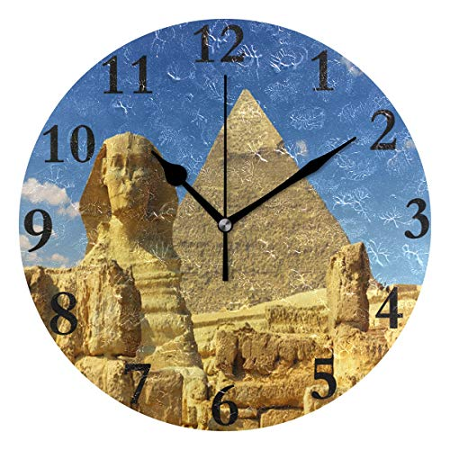 - FunnyCustom Round Wall Clock Ancient Egypt Sky Acrylic Creative Decorative for Living Room/Kitchen/Bedroom/Family