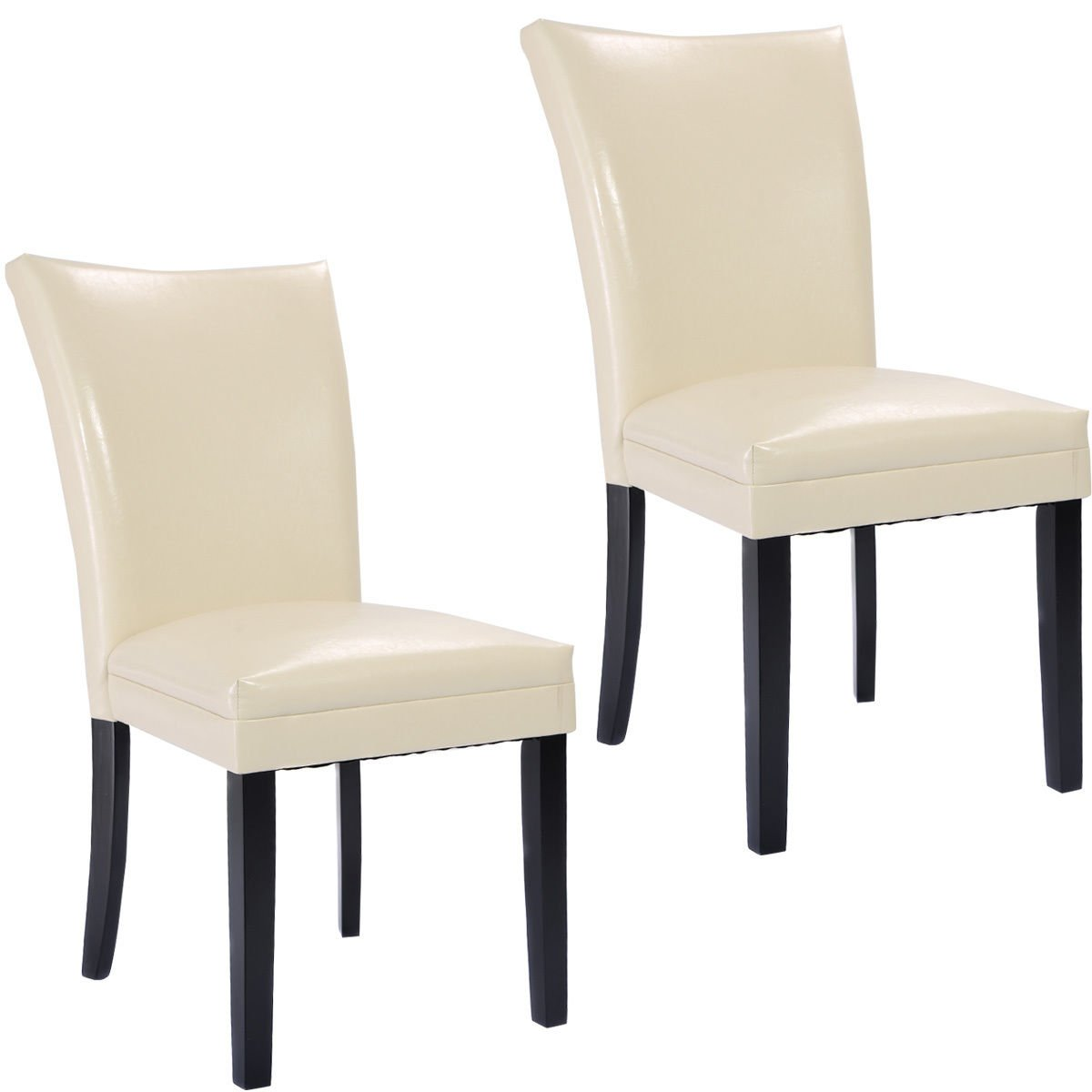Giantex Set of 2 Elegant Design PU Leather Accent Dining Chairs Modern Home Furniture (White)