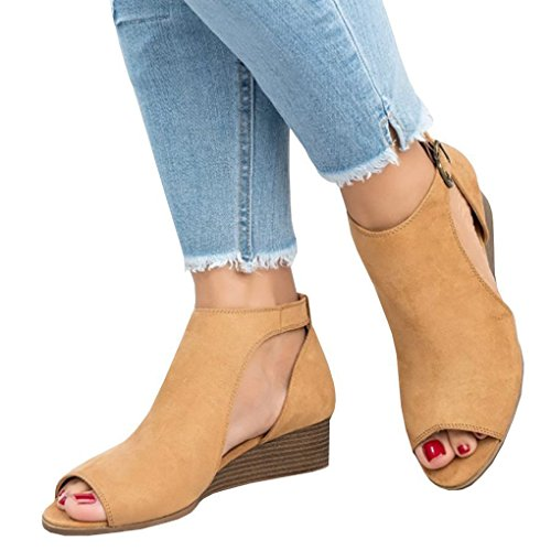 Hauts Boucle Chaussure Sandals Talon Toe Peep Sandale Talons Confortable Mode Jaune Compensé Casual Minetom Été Femme Sandals 7xOZA4q