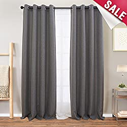 Linen Textured Curtains for Living Room Curtain 95 inch Length Grey Moderate Blackout Curtains Room Darkening Window Panels for Bedroom, 2 Panels, Charcoal Grey