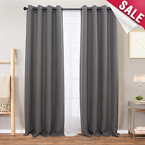 Linen Textured Curtains for Living Room Curtain 84 inch Length Grey Moderate Blackout Curtains Room Darkening Window Panels for Bedroom, 2 Panels, Charcoal Grey