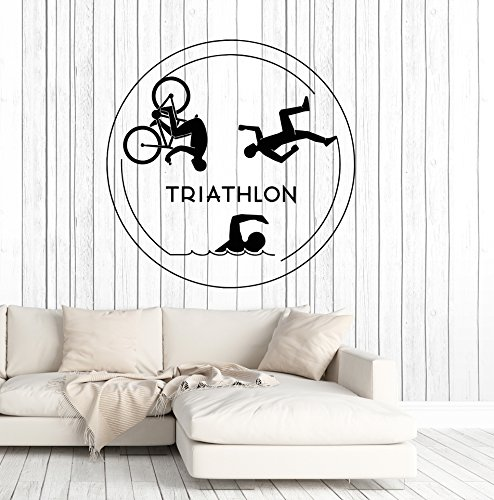 Vinyl Wall Decal Triathlon Sports Running Swimming Cycling Stickers Large Decor (ig4841) - Order Triathlon