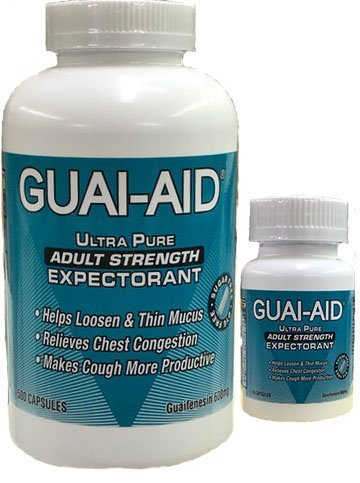 524 Guai-Aid 600mgUltra-Pure Guaifenesin Veg. Capsules (Includes 24 Size Travel Bottle) Exp. 02-22