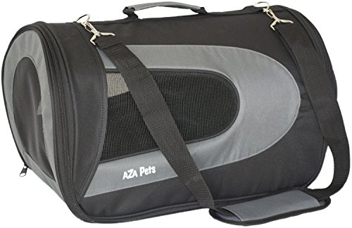 AZA Pets PET TRAVEL CARRIER for Cats, Small Dogs, Puppies, Airline Approved, Soft Sided, Carry-on fits under seat, Shoulder strap, stylish, collapsible folds flat for easy storage-Black