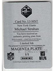 2016 Panini Limited Michael Strahan Autograph Magenta Printing Plate Card 1/1 - Panini Certified - Football Slabbed Autographed Rookie Cards
