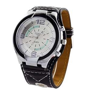 Big Face Dial Men Watches Super Mens Quartz Leatheroid Wrist Watch