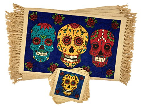 (SpiritFest Sugar Skull Placemats & Coasters: Set of 8 Day of the Dead Kitchen & Dining Table Decor (Blue Calaveras))