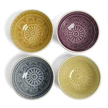 Creative Co-Op 4.5-inch Embossed Stoneware Bowl, Multicolor, Set of 4