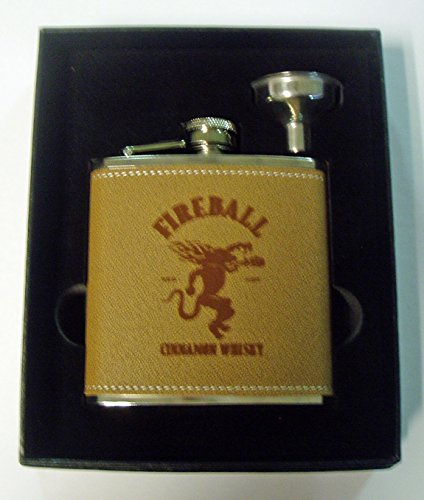 (Fireball Whiskey engraved leather covered stainless steel flask with a funnel in a black presentation box)