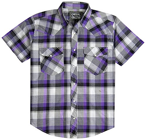 Men's Classic Plaid Short Sleeve Casual Western Shirt; Pearl Snap Front (Medium, Purple)