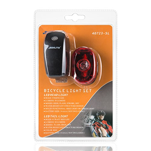 SAMLITE Best Brightest LED Bike Light Set for Kids & Adults, Super Bright Bicycle Headlight, Free Tail Light Included, Water Resistant Bike Light, Easy To Install, Multiple Modes for Cycling Safety by SAMLITE (Image #6)