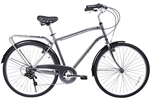 Gama Bikes 26 Men's City 6 Speed Shimano Hybrid Urban Commuter Road Bicycle, Wheel Size (26-Inch), Nickel