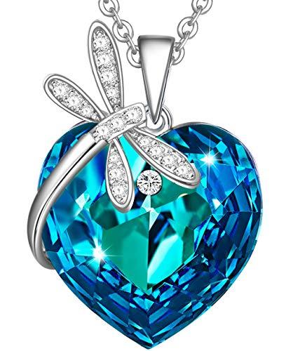 Songpanna Heart Dragonfly Pendant Necklace Swarovski Crystal (Blue) ()