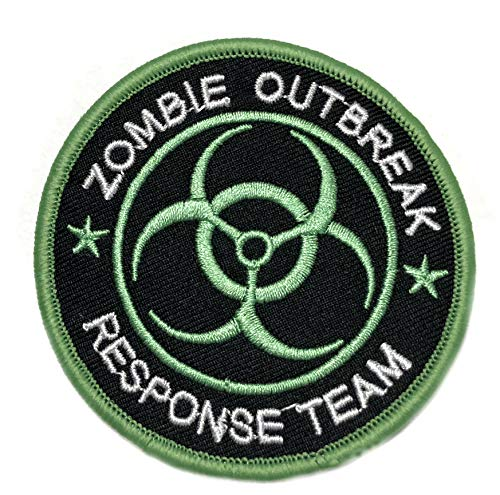 Zombie Outbreak Response Team Embroidered Patch Tactical Military Morale Motorcycle USA Flag Horror Biohazard Apocalypse Series Iron or Sew-on Emblem Badge Appliques Application Fabric Patches