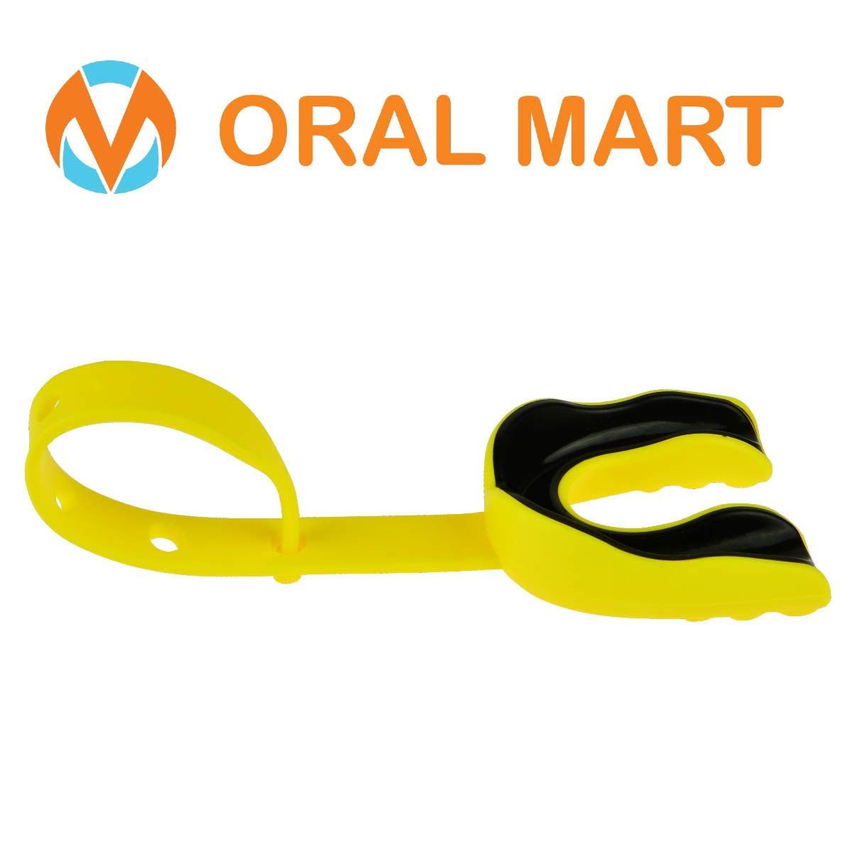 Oral Mart Yellow/Black Sports Mouth Guard with Strap (Ice Hockey/Football/Lacrosse) - Strapped Mouthguard for Football, Hockey, Lacrosse, College Football (with Free Case) by Oral Mart