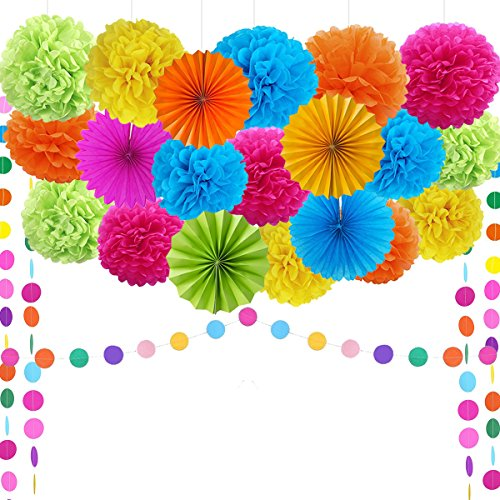 Neon Dance Decorations (Fiesta Party Supplies Fiesta Party Decorations Pom Poms,Folding Fans,Garland,for Festival Mexican Carnival Fiesta Theme Party Supplies)