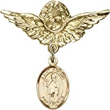 Gold Filled Baby Badge with St. Austin Charm and Angel w/Wings Badge Pin 1 1/8 X 1 1/8 inches