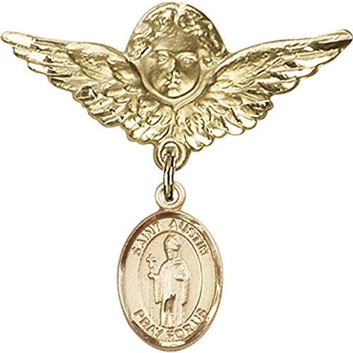 Gold Filled Baby Badge with St. Austin Charm and Angel w/Wings Badge Pin 1 1/8 X 1 1/8 inches by Unknown