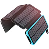 Solar Charger 25000mAh High Capacity Solar Power Bank with Dual 2.1A Outputs Portable External Battery Pack Compatible Most Smart Phones, Tablets and More (92.5Wh 2018 Upgraded)