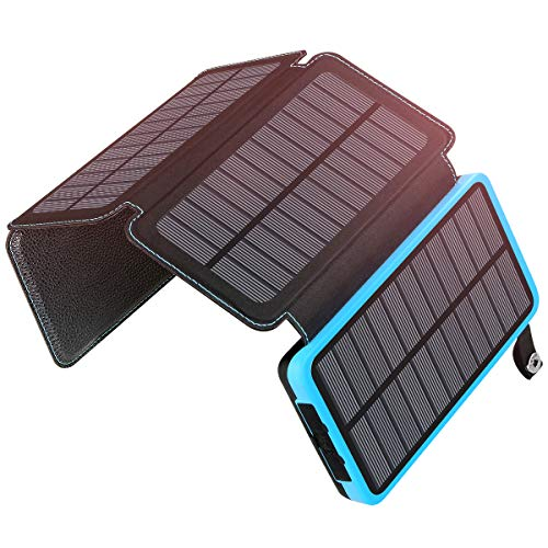 ADDTOP Solar Charger 25000mAh, Portable Solar Power Bank with 4 Solar Panels Outdoor Waterproof External Battery Solar Phone Charger with 2 USB Ports for iPhone, iPad, Samsung, Smartphone and Tablet ()